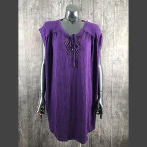 Faded Glory Plus Size 4X Purple Peasant Top